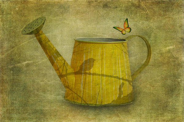 Scratch Photograph - Watering Can With Texture by Tom Mc Nemar