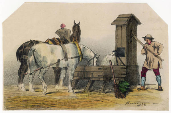 Pump Drawing - Watering Horses From A Pump by Mary Evans Picture Library