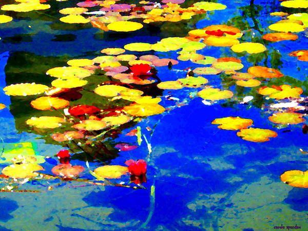 Painting - Waterlilies Pond Beautiful Nympheas Hommage De Monet Jardin A Giverny Water Scapes Carole Spandau by Carole Spandau