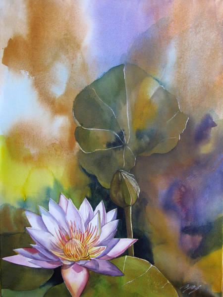 Painting - Waterlily With Abstraction by Alfred Ng