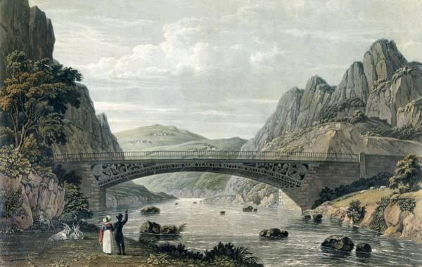 Wales Drawing - Waterloo Bridge Over The River Conwy by English School