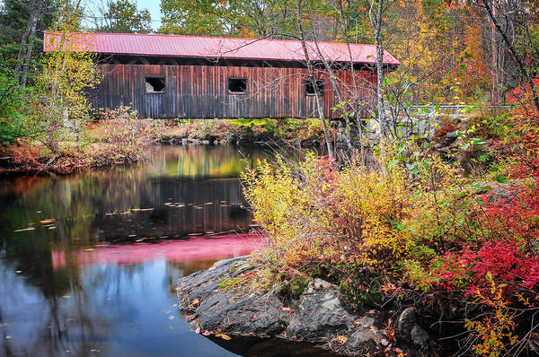 Photograph - Waterloo Covered Bridge - Warner River  Nh by T-S Fine Art Landscape Photography