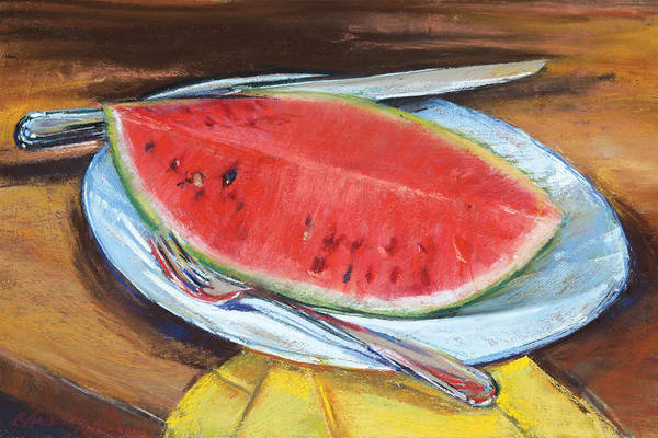 Watermellon Wall Art - Pastel - Watermelon by Beverly Amundson