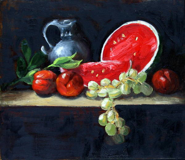 Painting - Watermelon And Peaches by Gaye White