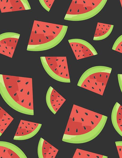 Vector Digital Art - Watermelon Seamless Background Pattern by Bloodlinewolf