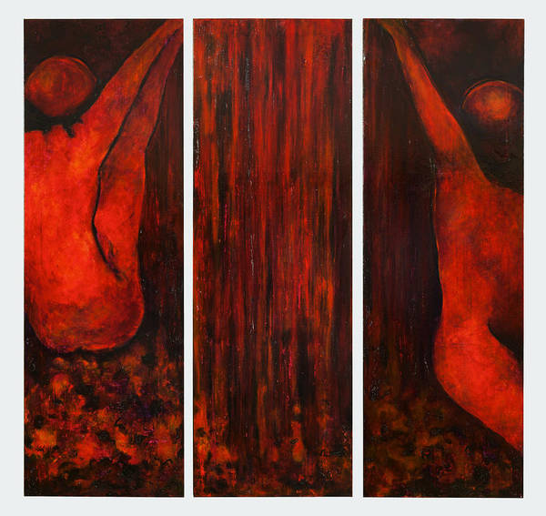 Painting - Waterplay Triptych by Holly Suzanne