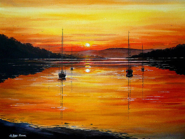 North Wales Wall Art - Painting - Watery Sunset At Bala Lake by Andrew Read