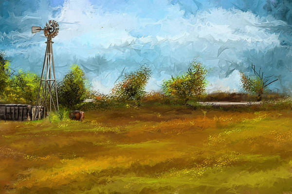 Painting - Watson Farm In Rhode Island - Old Windmill And Farming Art by Lourry Legarde