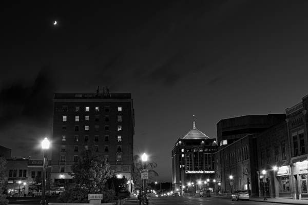 Photograph - Wausau After Dark With The Crescent Moon Looking On by Dale Kauzlaric