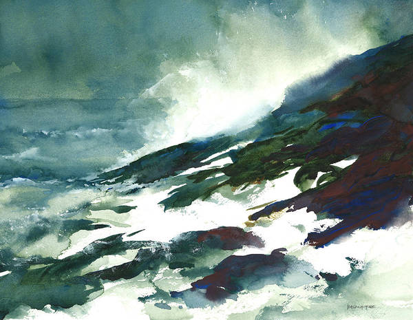 Lake Superior Painting - Wave And Rocks - Storm On The North Shore by William Beaupre