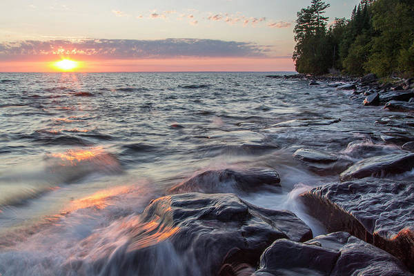 National Lakeshore Wall Art - Photograph - Waves Crash At Sunset On Devils Island by Chuck Haney