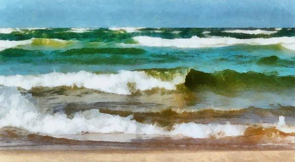 Holland Michigan Wall Art - Photograph - Waves Crash by Michelle Calkins