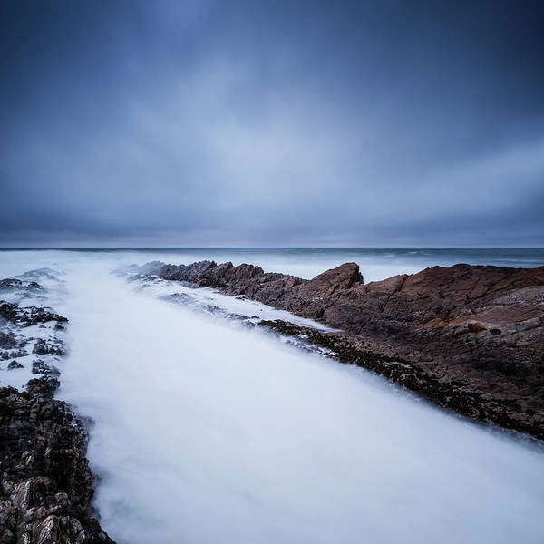 Montana De Oro State Park Photograph - Waves Crash Over Tidal Rocks At Dusk by Cody Duncan