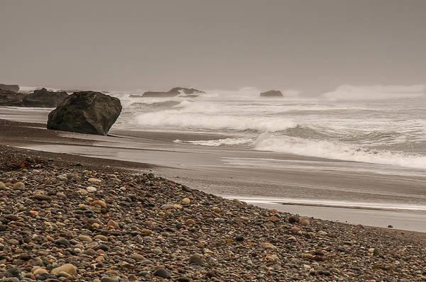 Photograph - Waves Crashing At San Simeon Beach by Lee Kirchhevel