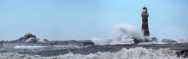 Sunderland Wall Art - Photograph - Waves Crashing Into A Lighthouse by John Short / Design Pics