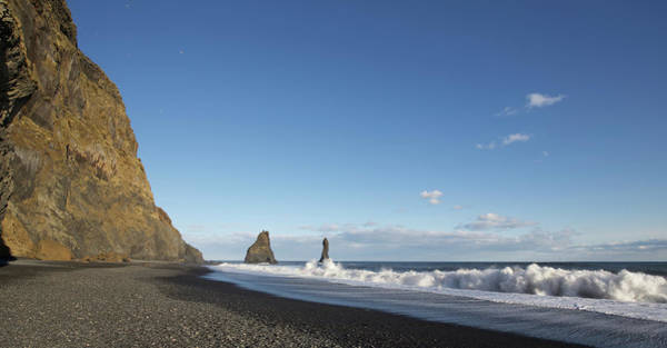 Wall Art - Photograph - Waves Crashing On Black Sand Beach by Chris Caldicott