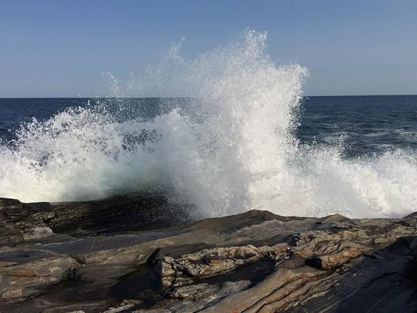 Photograph - Waves Crashing On Rocky Maine Coast by Chris Alberding