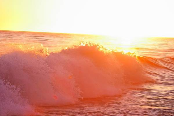 Waves In Sunset Art Print