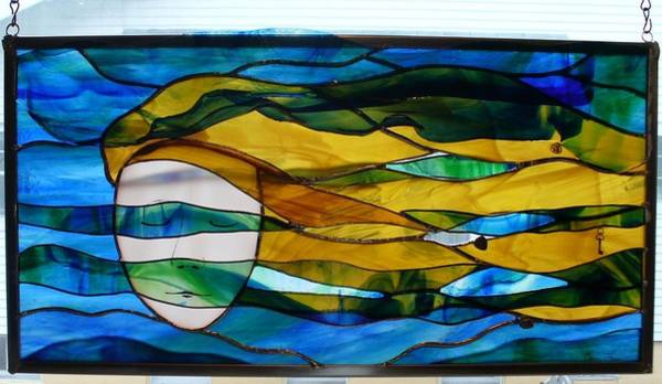 Glass Art - Waves Of His Mercy by Karin Thue