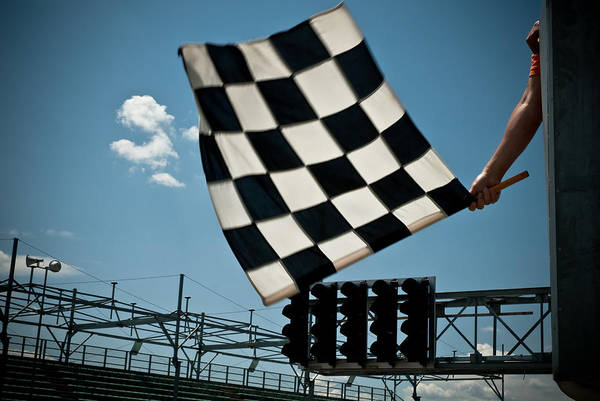 Waving Checkered Flag Art Print by Stevedangers