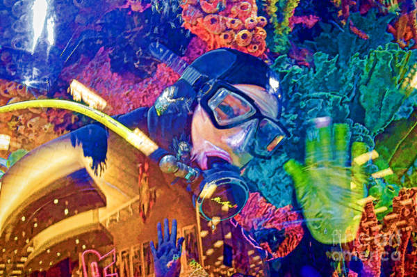 Fish Tank Photograph - Waving Scuba Diver At Scheels by Luther Fine Art