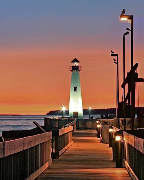 St Ignace Wall Art - Photograph - Wawatam Lighthouse Sunrise by John Absher