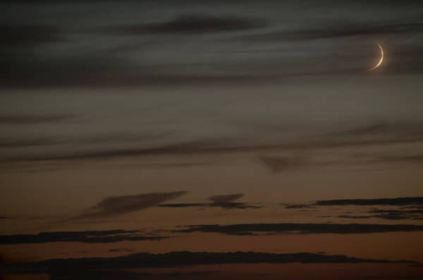 Waxing Crescent Moon Over Purple And Orange Evening Sky Art Print