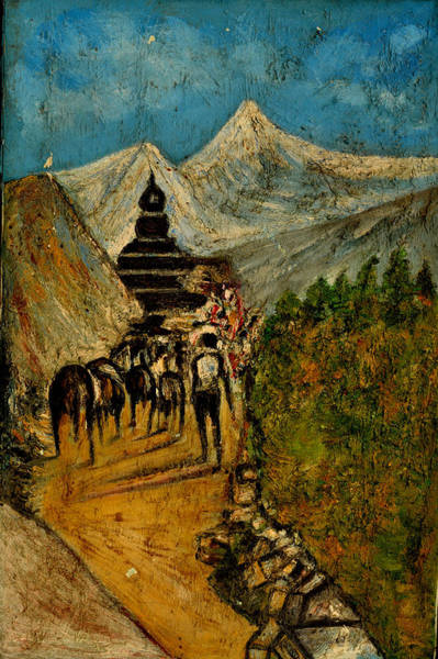 Indian God Painting - Way To God At Himalayas by Anand Swaroop Manchiraju