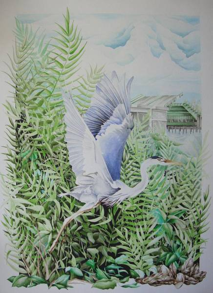 Painting - Wrightsville Blue Heron by William Love