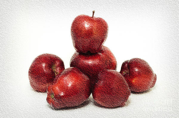 Photograph - We Are Family - 6 Red Apples - Fresh Fruit - An Apple A Day - Orchard by Andee Design