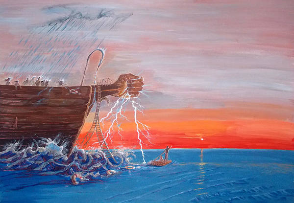 Wall Art - Painting - We  Arent Islands..we Are Rafts by Lazaro Hurtado