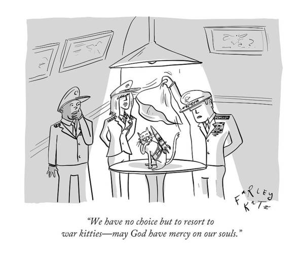 Cats Drawing - We Have No Choice But To Resort To War Kitties - by Farley Katz