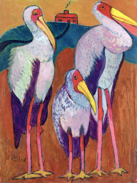 Stork Painting - We Shall Not Revisit That House! by Jeanette Lassen