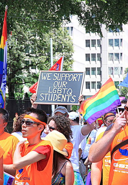 Gay Pride Flag Photograph - We Support Our Lgbtq Students by Valentino Visentini