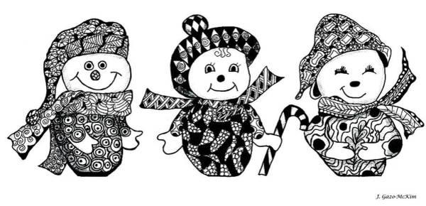 Trio Drawing - We Three Glee by Jo-Anne Gazo-McKim