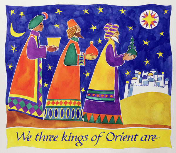 Star Of Bethlehem Painting - We Three Kings Of Orient Are by Cathy Baxter