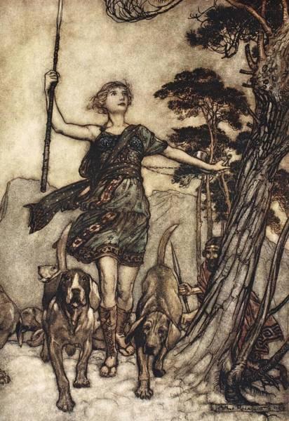Hound Drawing - We Will, Fair Queen by Arthur Rackham