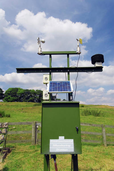 Gauge Photograph - Weather And Air Pollution Station by Simon Fraser/science Photo Library
