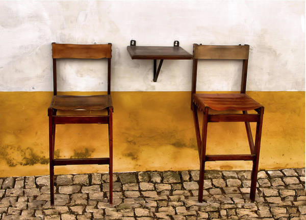 Photograph - Weathered Bar Stools Of The Medieval Town Of Obidos by David Letts