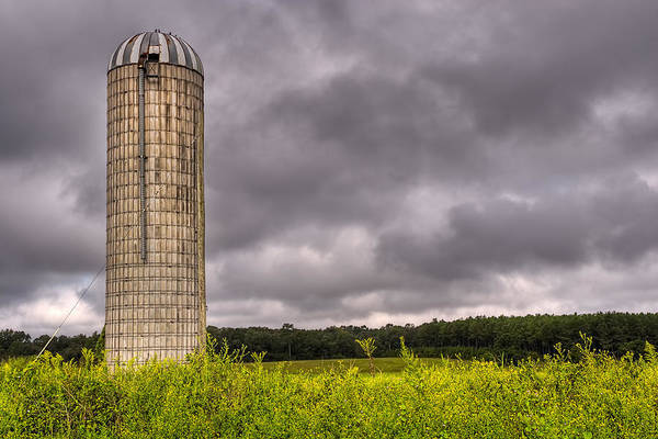 Photograph - Weathered Farm Silo Beneath Brooding Skies - Georgia by Mark Tisdale