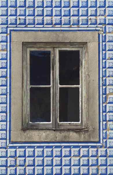 Photograph - Weathered Wood Window Against A Blue Tiled Wall by David Letts