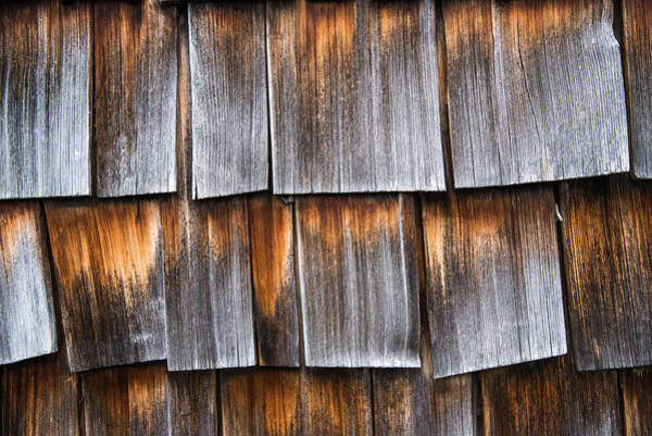 Photograph - Weathered Wooden Shingles Of A Barn Closeup by Matthias Hauser