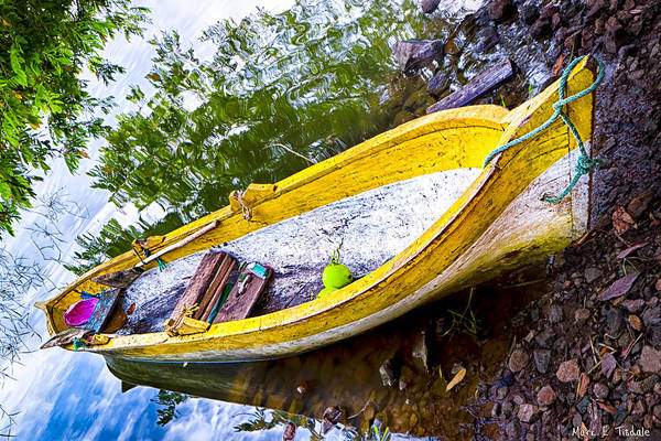 Wall Art - Photograph - Weathered Yellow Boat Beached On A Tropical Island by Mark Tisdale