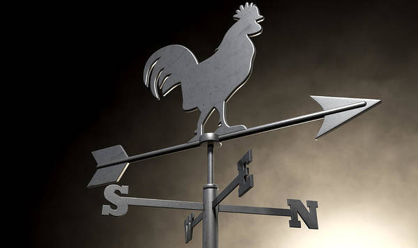 Rotating Digital Art - Weathervane Cockerel Isolated by Allan Swart