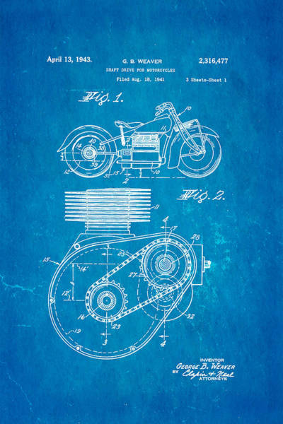 Fitter Photograph - Weaver Indian Motorcycle Shaft Drive Patent Art 1943 Blueprint by Ian Monk