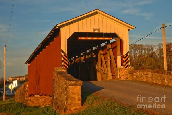 Photograph - Weavers Mill Covered Bridge Lancaster County by Adam Jewell