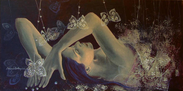 Lace Painting - Weaving Lace Wings... by Dorina  Costras
