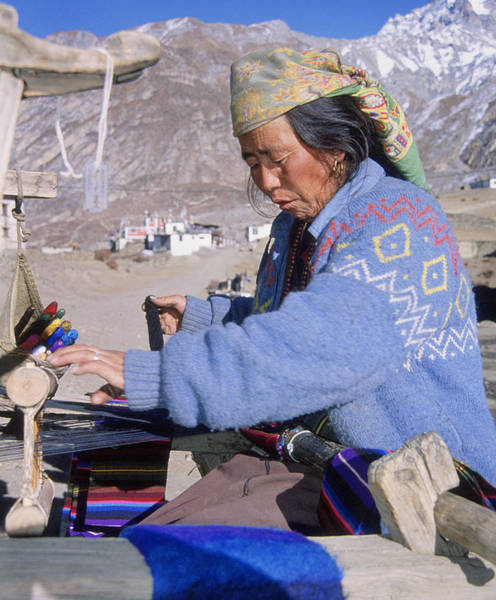 Self Employment Photograph - Weaving Scarves In Muktinath by Richard Berry