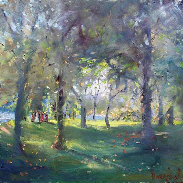 Ceremony Wall Art - Painting - Wedding Celebration In The Park by Ylli Haruni