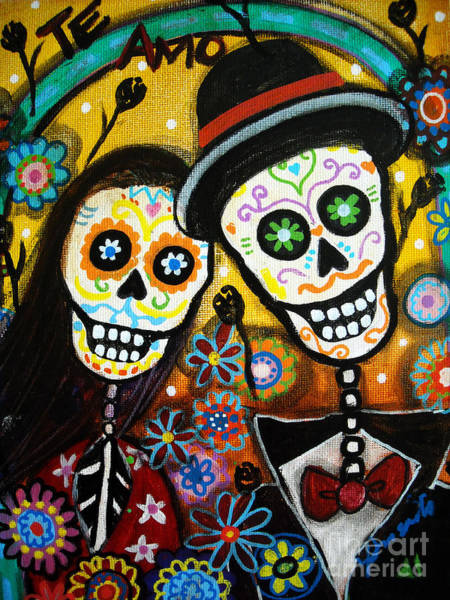 Pristine Wall Art - Painting - Wedding Dia De Los Muertos by Pristine Cartera Turkus